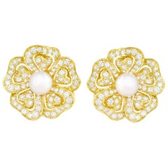 Mikimoto Pearl and Diamond-Set Gold Earrings