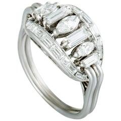 Boucheron Vintage Diamond Platinum Oval Ring