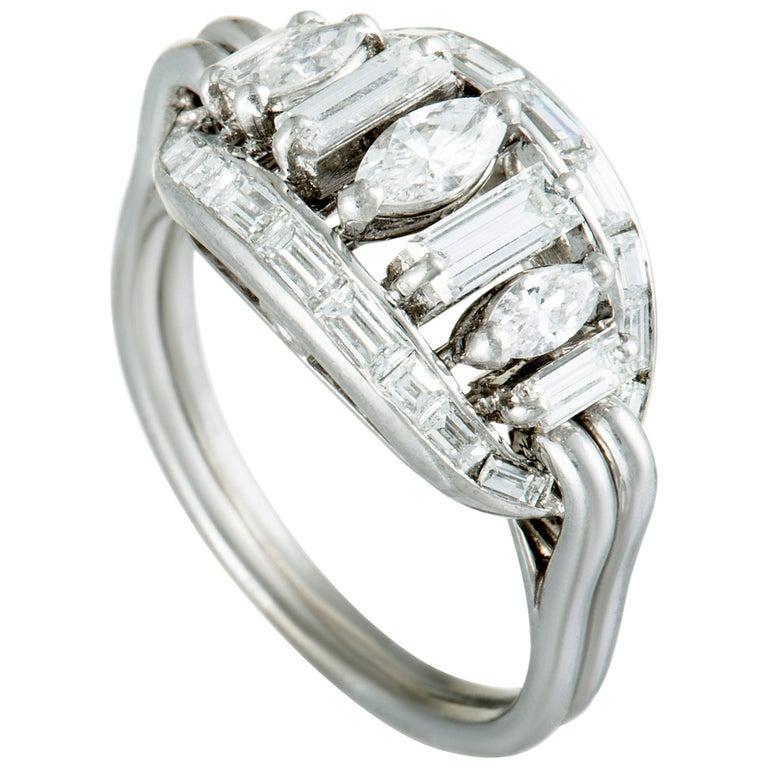 Boucheron Vintage Diamond Platinum Oval Ring For Sale