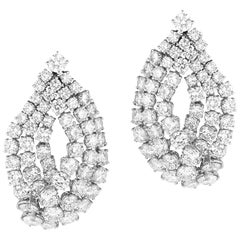 Magnificent Black Tie Platinum and Diamond Earrings