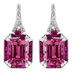 IGL Certified 2.32 Carat Emerald Cut Pink Tourmaline Ruby 14K Cocktail Earrings