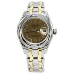 Rolex Ladies Pearmaster 69329 18 Karat Yellow and White Gold Diamond on Bezel