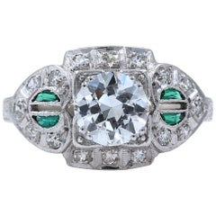Vintage Diamond and Emerald Ring Old European Cuts 1.78 Carat