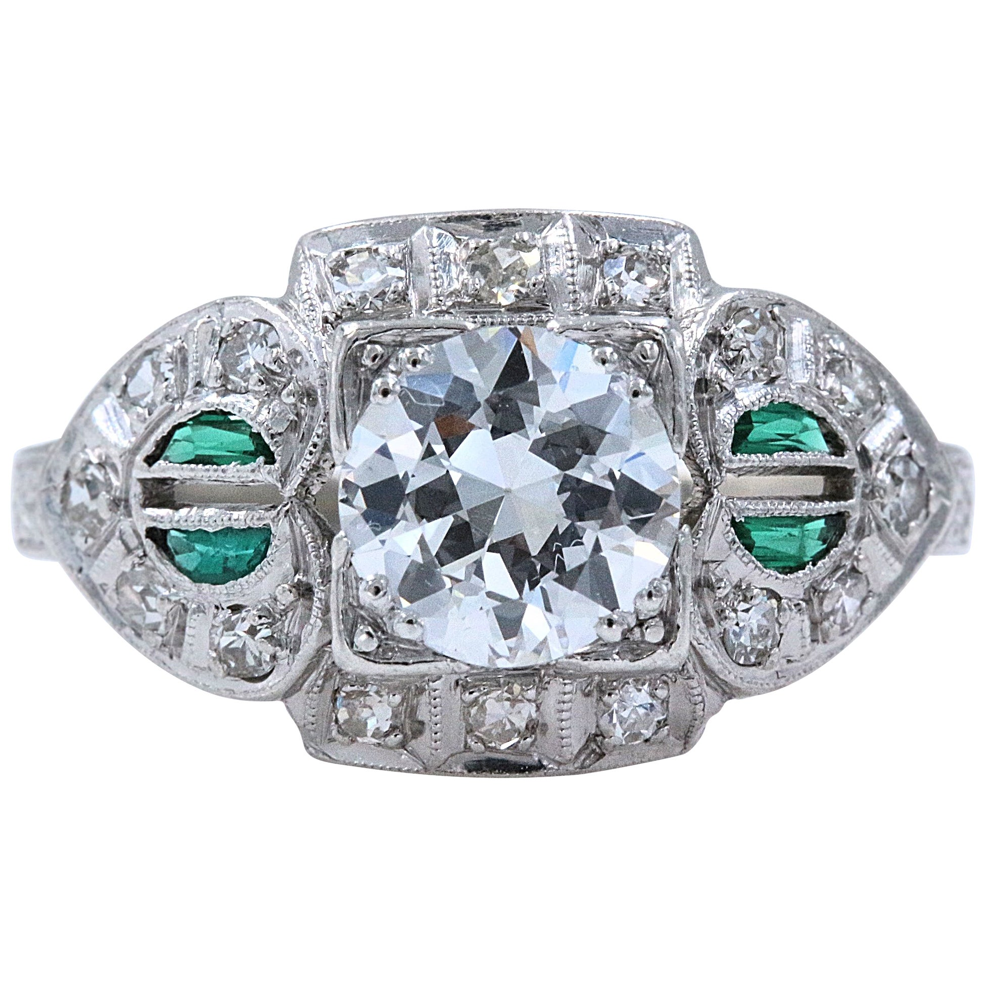 Antique Diamond and Emerald Ring Old European Cuts 1.50 Carat