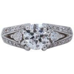 Old Cut Diamond Engagement Ring 1.30 Carat in 18 Karat White Gold