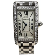 Cartier Tank Americaine 2489 Factory Diamond Bezel 18 Karat White Gold