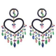 Big Heart Earring with Emeralds, Sapphires and Black Diamond in Silver and Gold