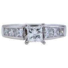 Leo Princess Diamond Engagement Ring 1.52 Carat 14 Karat White Gold