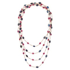 Sapphire Ruby and Diamond Long Chain Necklace