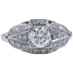 Vintage Platinum Diamond Engagement Ring Old Cuts 1.08 Carat