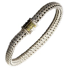 John Hardy Silver and Gold Jaisalmer Dot Woven Wheat Chain Bracelet