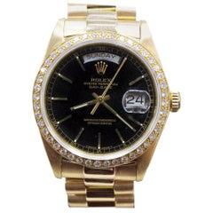 Rolex President Day Date 18038 18 Karat Yellow Gold with Diamond Bezel