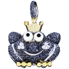 Aaron Basha Limited Edition Frog Prince Black and White Diamond Charm or Pendant
