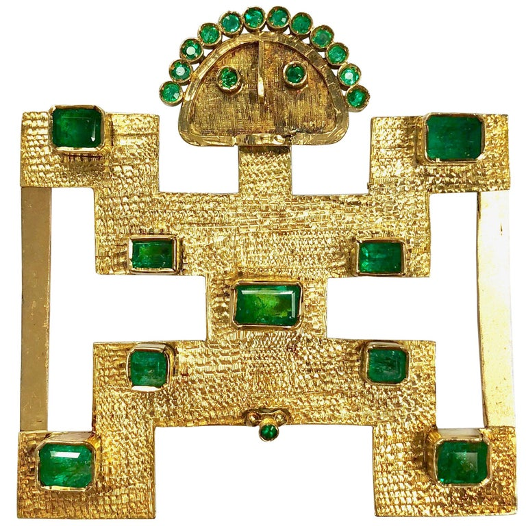 Pijao Emerlad and Yellow Gold Belt Buckle