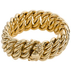 18 Karat Yellow Gold 140 Grams French Gourmette Curb Link Bracelet