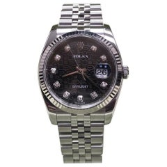 Rolex 116234 Datejust Stainless Steel Black Jubilee Diamond Dial Box and Papers