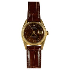 Rolex 18 Karat Yellow Gold Wood Dial Datejust Watch, 1980s
