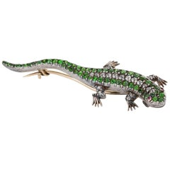 Victorian Diamond Demantoid Garnet and Ruby Salamander Pin