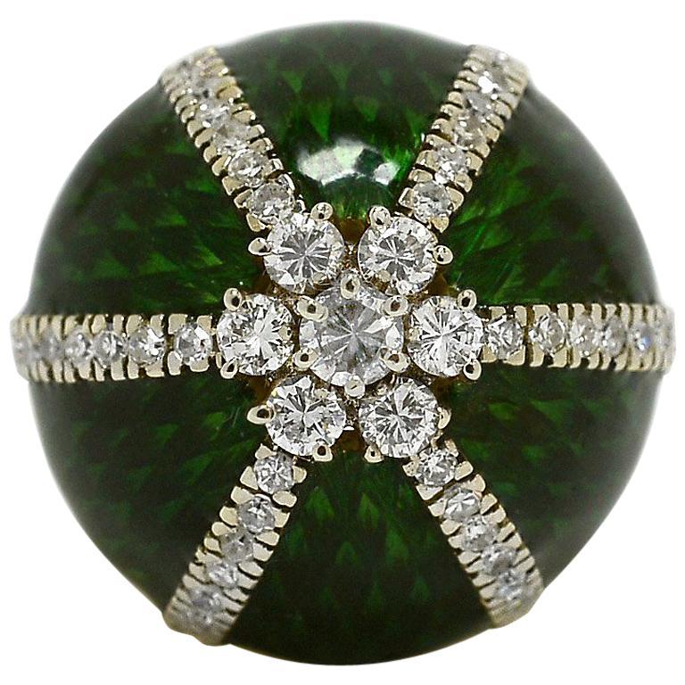 Modernist Italian Enamel Cluster Diamond 1970s Statement Dome Cocktail Ring