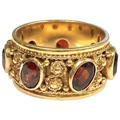 Vintage Garnet and Gold Eternity Band