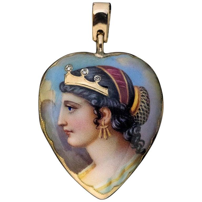 Antique Victorian Era Cleopatra Enamel Diamond Gold Locket Pendant