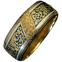Exquisite Antique Victorian Two-Color Enamel Engraved Gold Cuff Bracelet