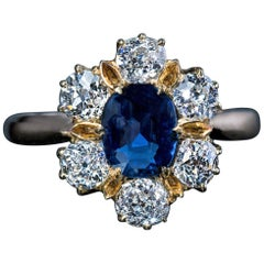 Antique Edwardian Era Sapphire Diamond Gold Engagement Ring
