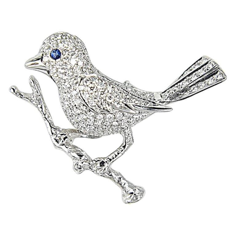 Gilin Bird Brooch with Diamond and Sapphire in 18 Karat White Gold For Sale