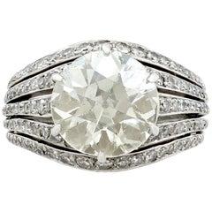 1920s Antique 3.98 Carat Diamond and Platinum Cocktail Ring