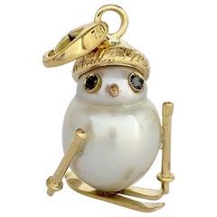 18 Karat Gold Skier Snowman Black Diamond Pearl Charm and Pendant/Necklace