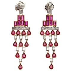 Rose Gold Baguette Diamond, Baguette Ruby and Pear Shaped Ruby Art Deco Earrings