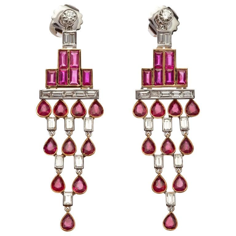Rose Gold Baguette Diamond, Baguette Ruby and Pear Shaped Ruby Art Deco Earrings