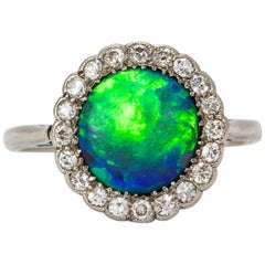 Art Deco Platinum Black Opal Diamond Cluster Ring
