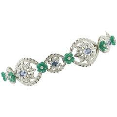 White Diamonds Blue Sapphires Green Agate Flowers White Gold Link Bracelet
