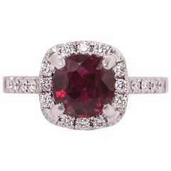 GIA Certified Diamond and Ruby Ring 2.54 Carat