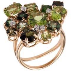 Tourmaline Peridot Diamond 18 Karat Rose Gold Ring