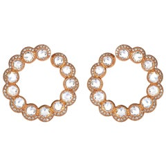 Rose Gold Rose Cut Diamond Hoop Earrings