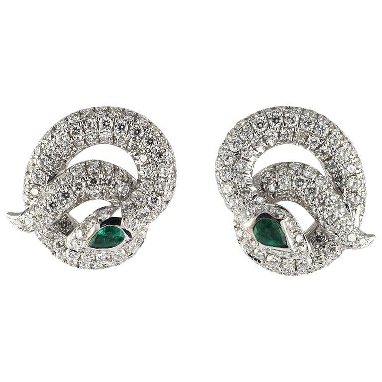 1 24 Carat White Diamond 18karat Modern Earring For