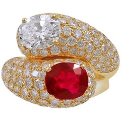 Cartier Diamond Burma Ruby Toi Et Moi Ring