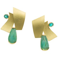 Annabel Eley 18 Karat Gold Earrings with Paraiba Tourmalines and Peruvian Opals