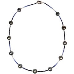 Fei Liu Tahitian South Sea Pearls and Blue Sapphires Necklace