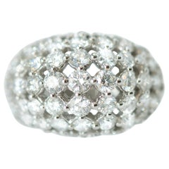 1950s 2.94 Carat Diamond and 18 Karat White Gold Dome Ring