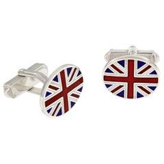 Sterling Silver Guilloche Enamel Union Jack Cufflinks