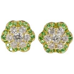Exceptional Quality 1.08 Carat Diamond Demantoid Garnet Stud Earrings