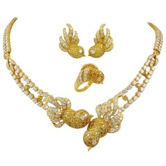 M. Gerard Fancy Yellow, White Diamond Bird Necklace Suite