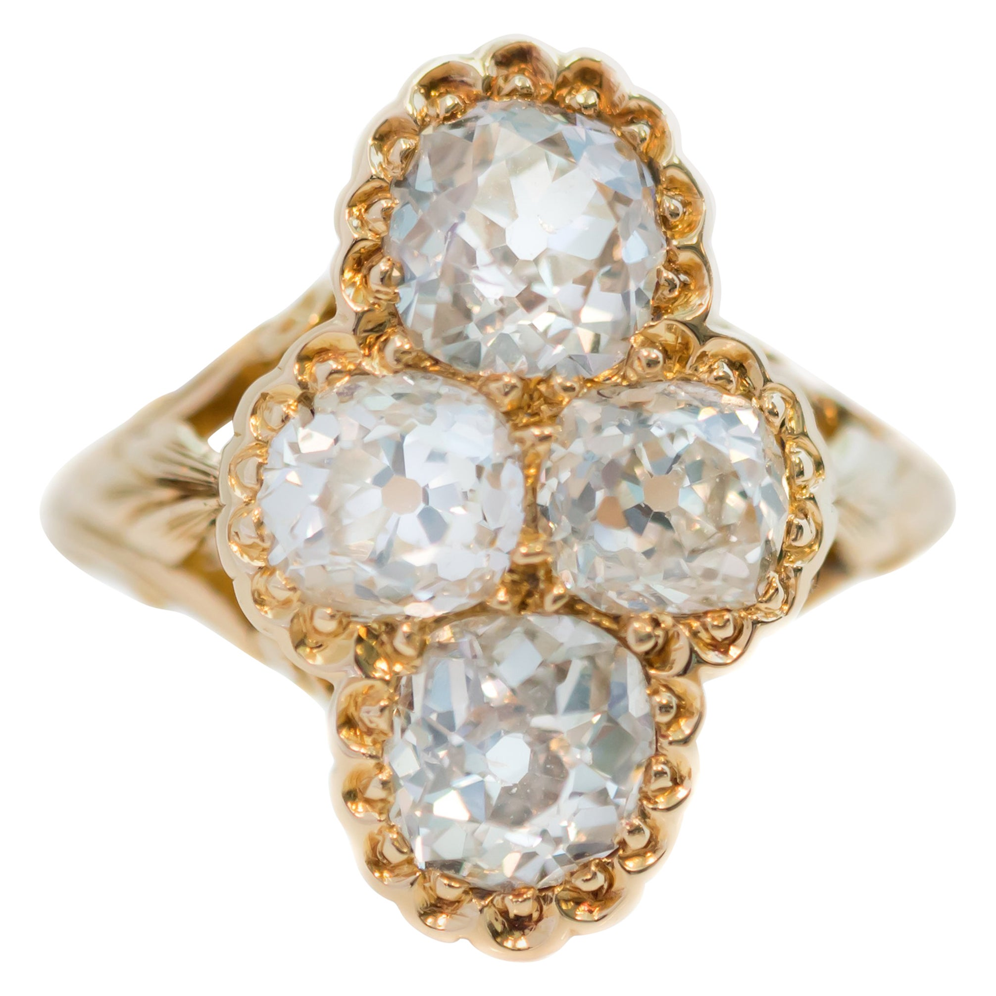 Victorian Antique 2.2 Carat Old Mine Diamond and 18 Karat Yellow Gold Ring