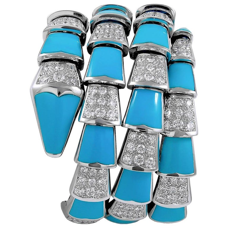 Bulgari Diamond Turquoise Serpenti Bracelet