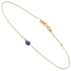 Blue Sapphire Drop Bracelet in Yellow Gold by Allison Bryan