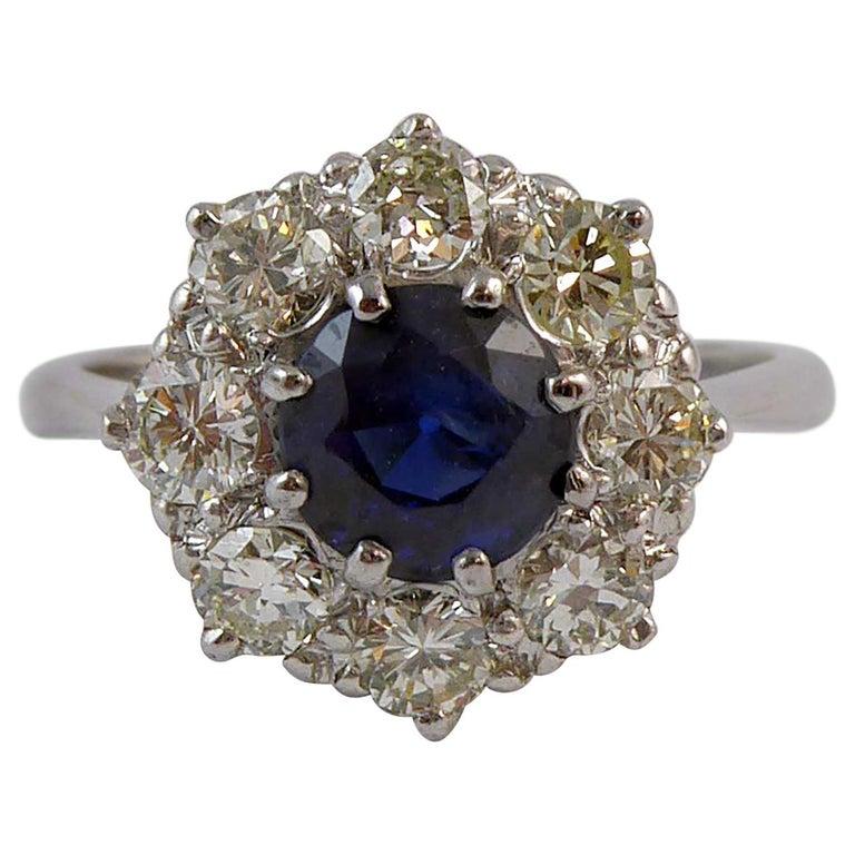 Vintage 1.50 Carat Sapphire and 1.0 Carat Diamond Cluster Ring, Platinum Band