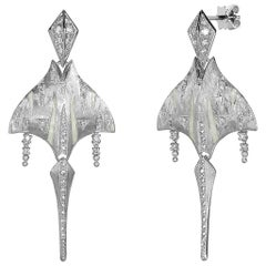 Venyx 18 Karat White Gold Diamond Tiger Ray Dangle Drop Earrings